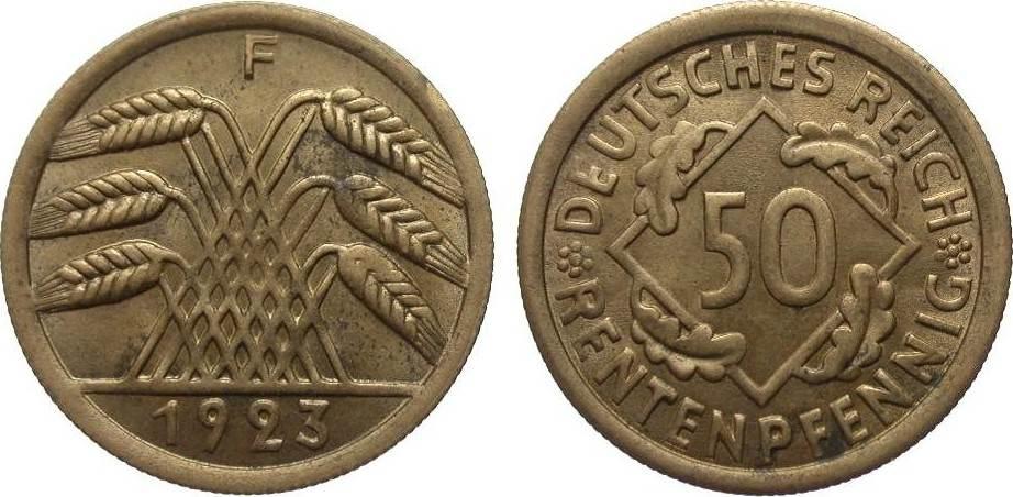 50 Rentenpfennig 1923 F Weimarer Republik besser als vorzüglich