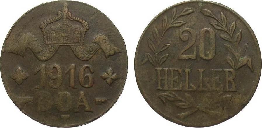 20 Heller 1916 T Kolonien und Nebengebiete sehr schön