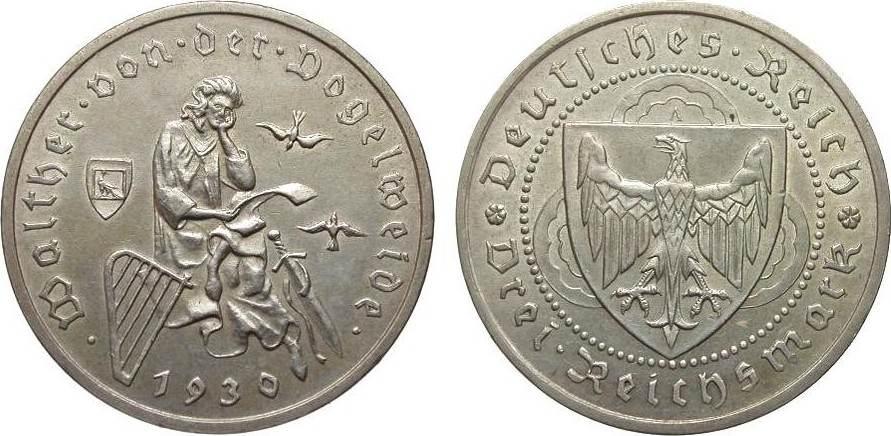 3 Mark Vogelweide 1930 A Weimarer Republik besser als vorzüglich