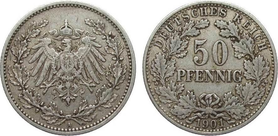 50 Pfennig 1901 A Kaiserreich sehr schön