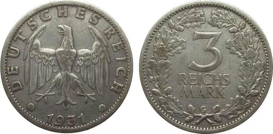 3 Mark Kursmünze 1931 G Weimarer Republik knapp sehr schön
