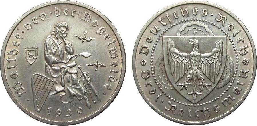 3 Mark Vogelweide 1930 F Weimarer Republik vorzüglich