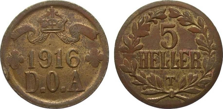 5 Heller modifizierter Stempel 1916 T Kolonien und Nebengebiete sehr schön / vorzüglich