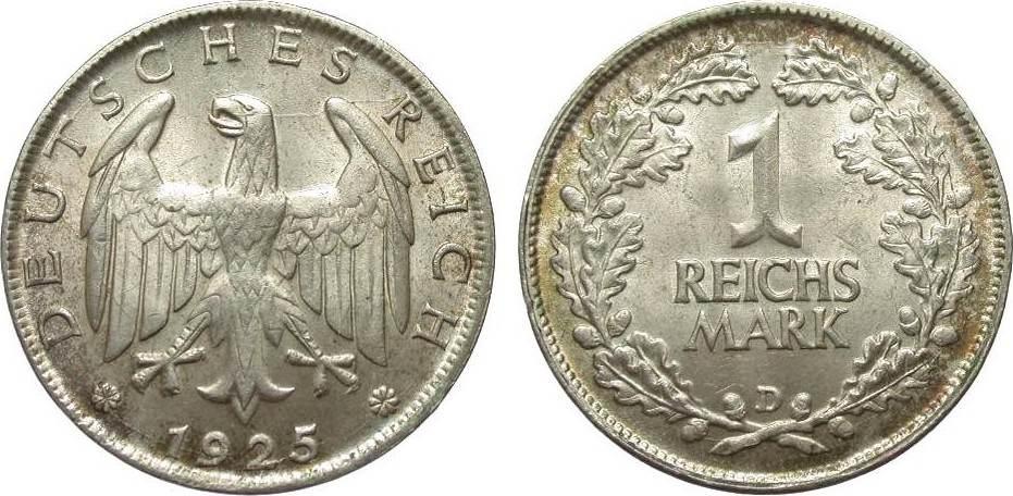 1 Mark 1925 D Weimarer Republik vorzüglich / Stempelglanz