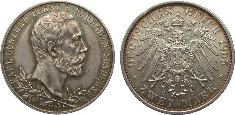2 Mark Schwarzburg-Sondershausen 1905 (breiter Rand) Kaiserreich kl. Randfehler, fast vz / vz