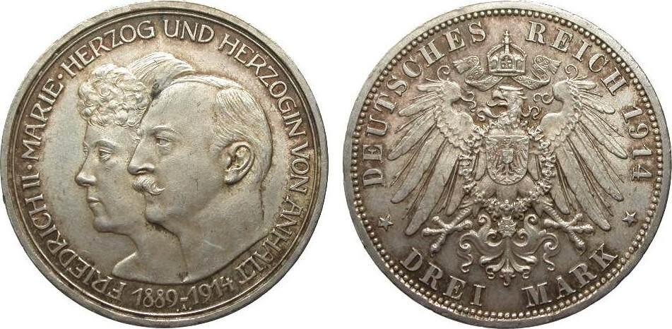 3 Mark Anhalt Silberhochzeit 1914 A Kaiserreich min. Rf., Bildseite vz, Adlerseite vz/St