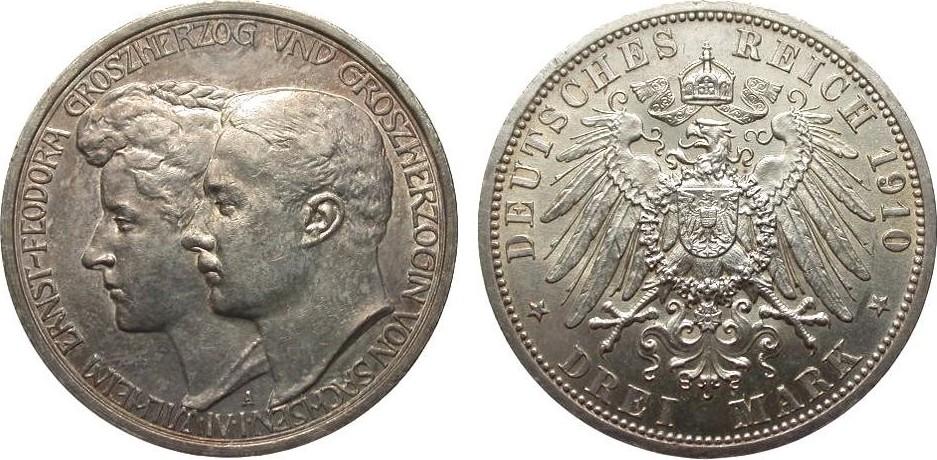 3 Mark Sachsen-Weimar-Eisenach 1910 A Kaiserreich vz / vz+