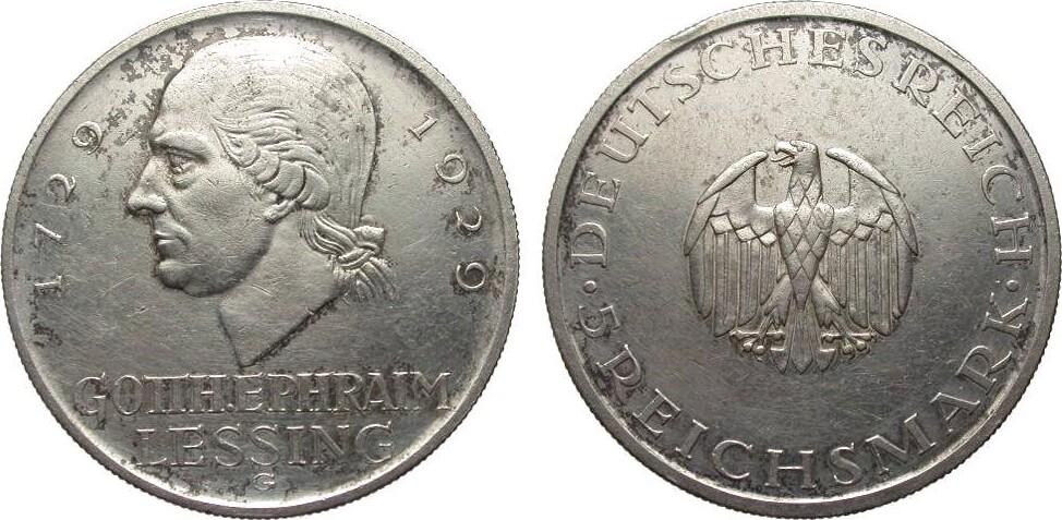 5 Mark Lessing 1929 G Weimarer Republik kl. Rf., berieben, gutes sehr schön