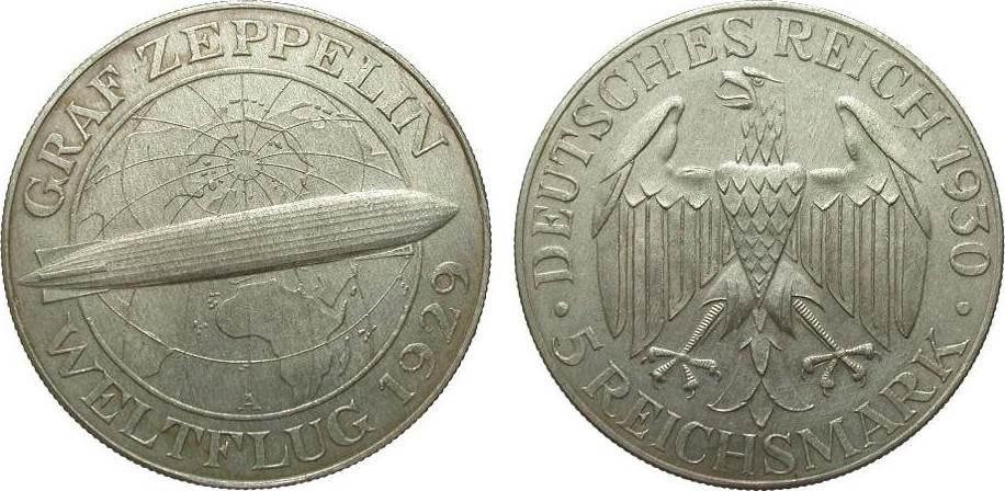 5 Mark Zeppelin 1930 A Weimarer Republik knapp vorzüglich