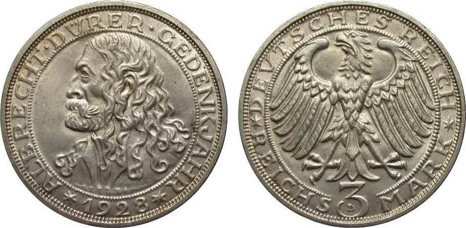 3 Mark Dürer 1928 D Weimarer Republik vorzüglich / Stempelglanz