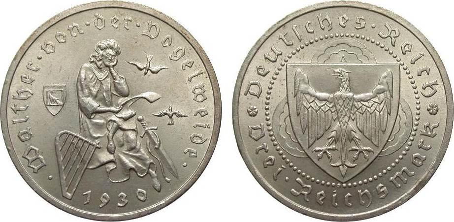 3 Mark Vogelweide 1930 A Weimarer Republik vorzüglich / Stempelglanz