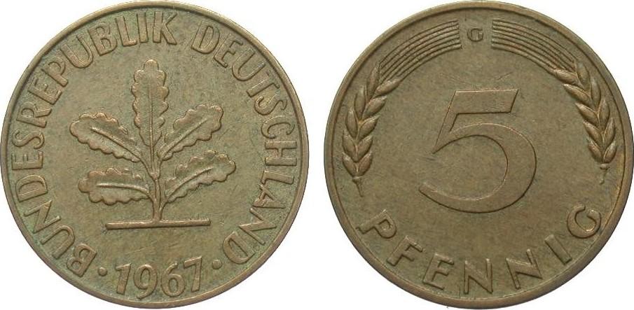 5 Pfennig 1967 G Bundesrepublik Deutschland vorzüglich