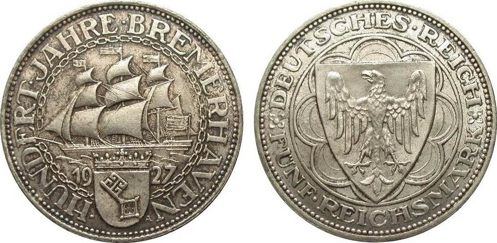5 Mark Bremerhaven 1927 A Weimarer Republik schöne Patina, besser als vorzüglich