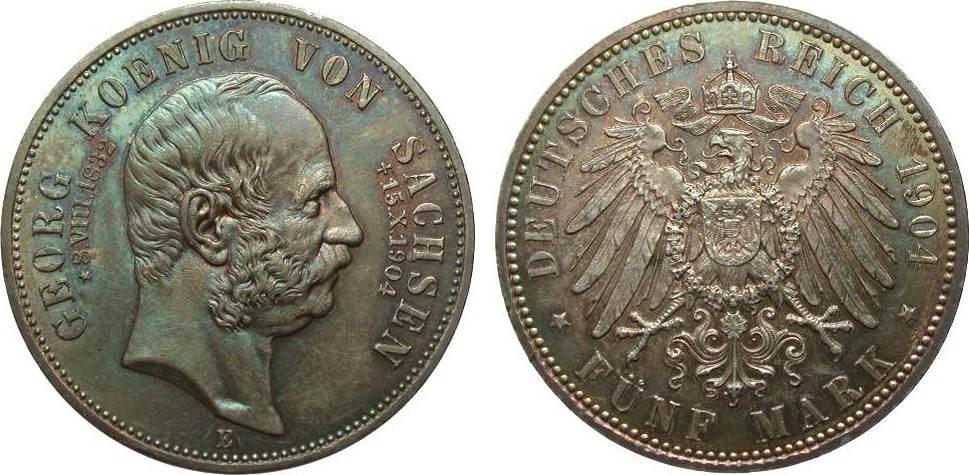 5 Mark Sachsen Georg auf den Tod 1904 E Kaiserreich vz / vz+