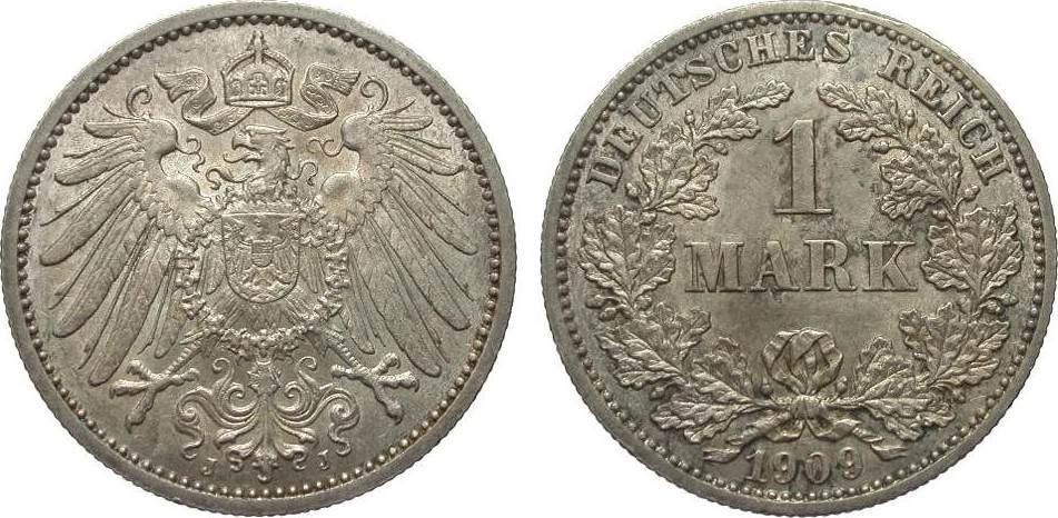 1 Mark 1909 J Kaiserreich kl. Randfehler, vorzüglich