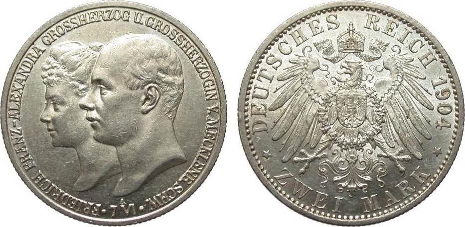 2 Mark Mecklenburg-Schwerin 1904 A Kaiserreich min. Randfehler, vz / vz+