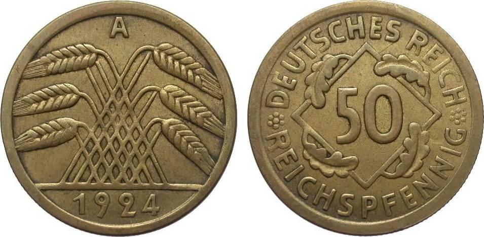 50 Reichspfennig 1924 A Weimarer Republik besser als sehr schön