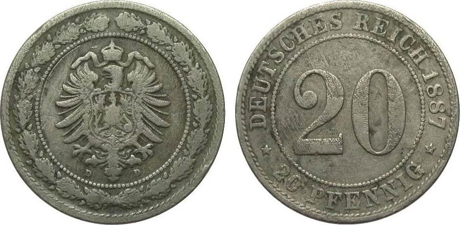 20 Pfennig 1887 D Kaiserreich gering erhalten
