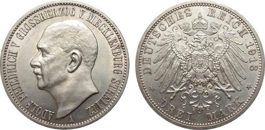 3 Mark Mecklenburg-Strelitz 1913 A Kaiserreich vorzüglich / Stempelglanz