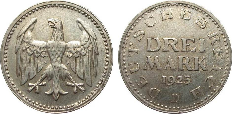 3 Mark Kursmünze 1925 D Weimarer Republik fast vorzüglich