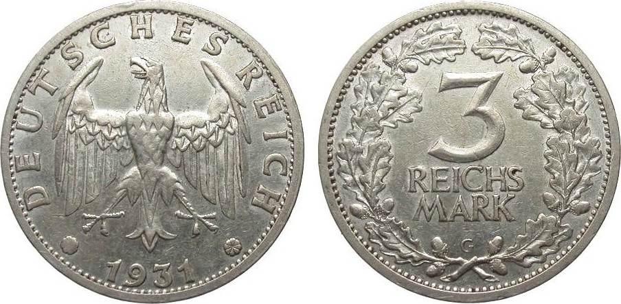 3 Mark Kursmünze 1931 G Weimarer Republik besser als sehr schön