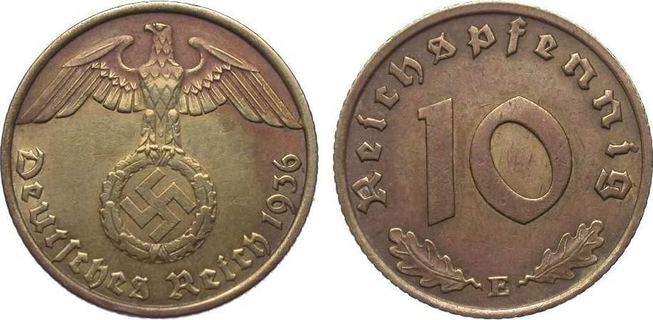 10 Pfennig 1936 E Drittes Reich besser als sehr schön