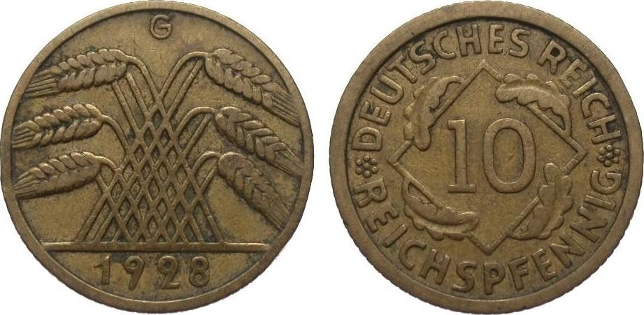 10 Pfennig 1928 G Weimarer Republik sehr schön