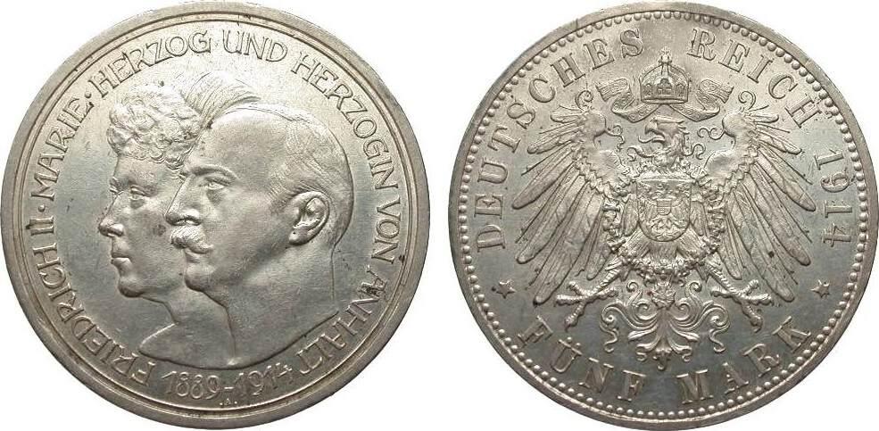 5 Mark Anhalt Silberhochzeit 1914 A Kaiserreich fast vorzüglich / vorzüglich