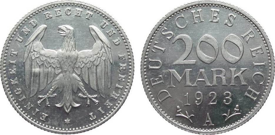200 Mark 1923 A Weimarer Republik wz. Kratzer, polierte Platte