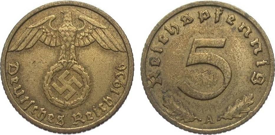 5 Pfennig 1936 A Drittes Reich sehr schön