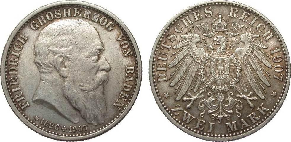 2 Mark Baden auf den Tod 1907 Kaiserreich vz / vz+