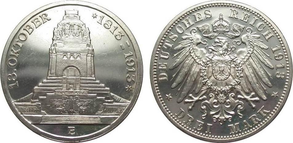 3 Mark Sachsen Völkerschlachtdenkmal 1913 E Kaiserreich kl. Kratzer, polierte Platte