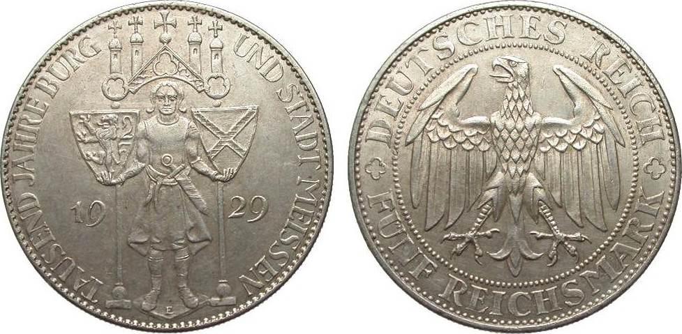 5 Mark Meissen 1929 E Weimarer Republik vorzüglich