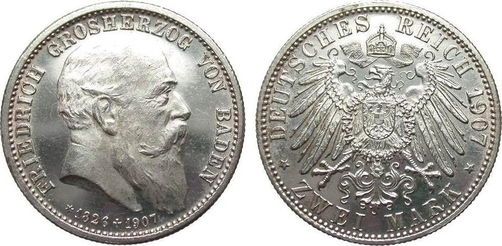 2 Mark Baden auf den Tod 1907 Kaiserreich wz. Kr., fast Stempelglanz aus EA