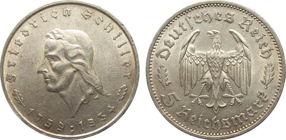 5 Mark Schiller 1934 F Drittes Reich kl. Kratzer, vorzüglich