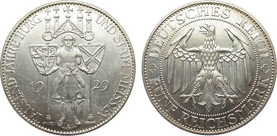 5 Mark Meissen 1929 E Weimarer Republik vorzüglich / Stempelglanz