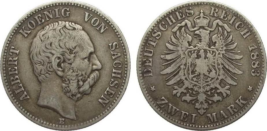 2 Mark Sachsen 1883 E Kaiserreich schön / sehr schön