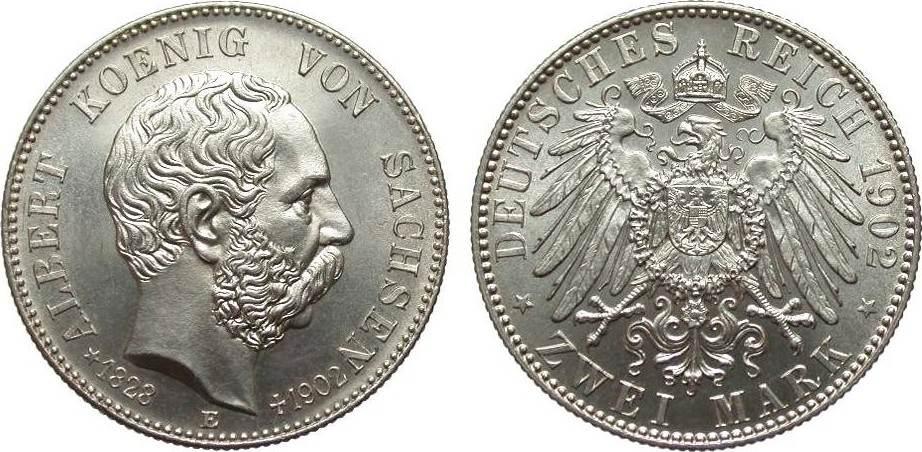 2 Mark Sachsen Albert auf den Tod 1902 E Kaiserreich wz. Kratzer, fast Stempelglanz