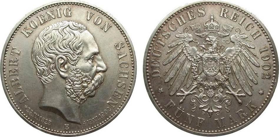 5 Mark Sachsen Albert auf den Tod 1902 E Kaiserreich Rand l. bearbeitet, vorzüglich