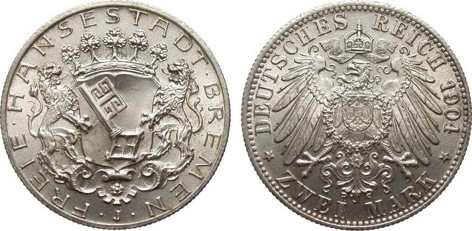 2 Mark Bremen 1904 J Kaiserreich fast Stempelglanz / Stempelglanz