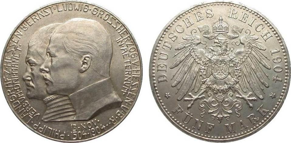 5 Mark Hessen 1904 Kaiserreich vorzüglich / Stempelglanz