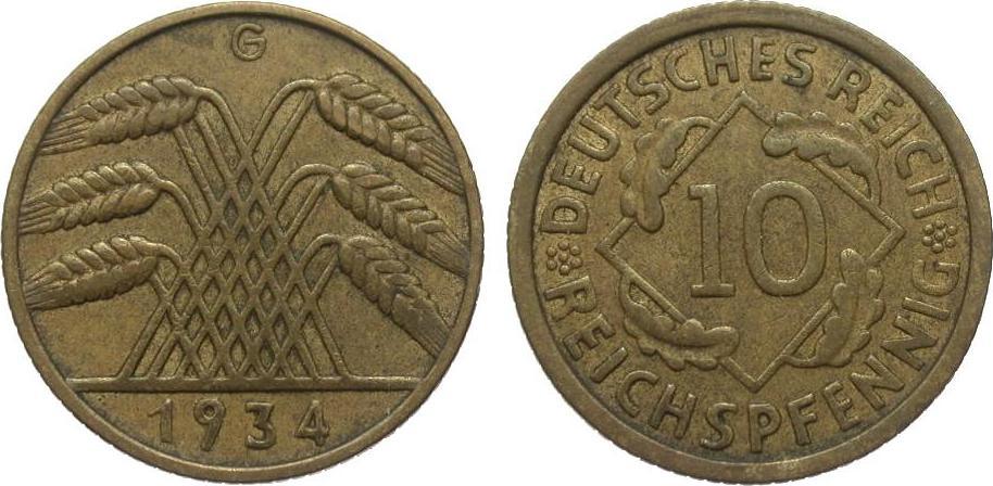 10 Pfennig 1934 G Weimarer Republik sehr schön / vorzüglich