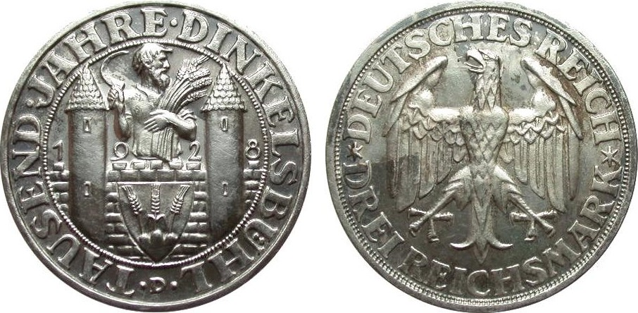 3 Mark Dinkelsbühl 1928 D Weimarer Republik fleckige Patina, wz. Kr., polierte Platte