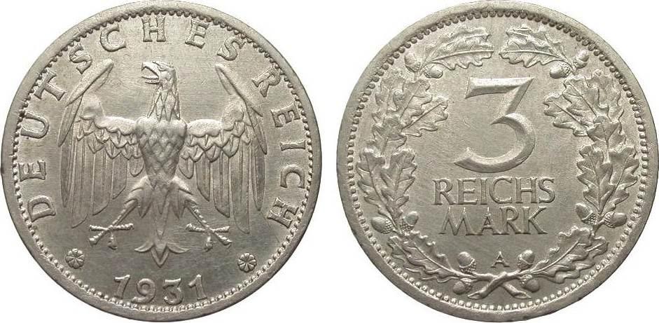 3 Mark Kursmünze 1931 A Weimarer Republik wz. Rf., l. berieben, vorzüglich