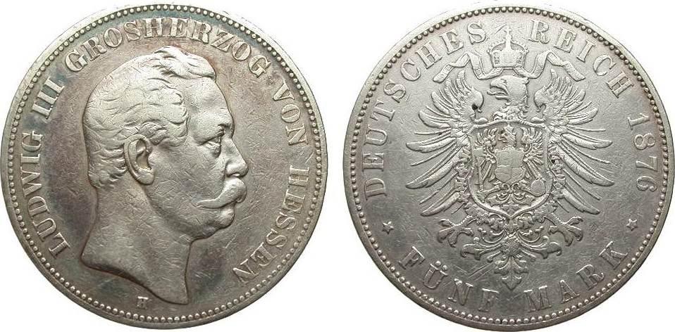 5 Mark Hessen 1876 H Kaiserreich schön / sehr schön