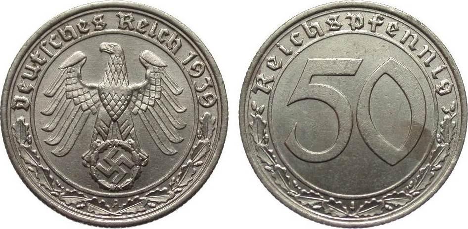 50 Pfennig 1939 A Drittes Reich kl. Fleck, vz / vz+