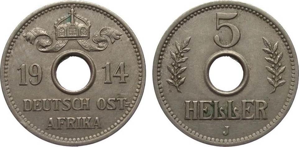 5 Heller 1914 J Kolonien und Nebengebiete min. Randfehler, knapp vorzüglich