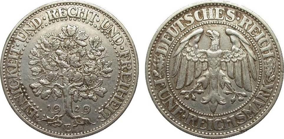 5 Mark Eichbaum 1929 E Weimarer Republik sehr schön