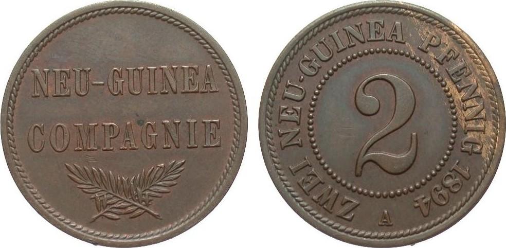 2 Pfennig Neu-Guinea 1894 A Kolonien und Nebengebiete wz. Kratzer, vorzüglich / Stempelglanz
