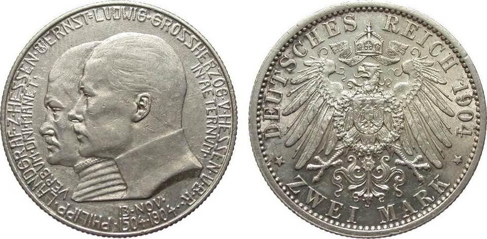 2 Mark Hessen 1904 Kaiserreich fast vorzüglich / vorzüglich